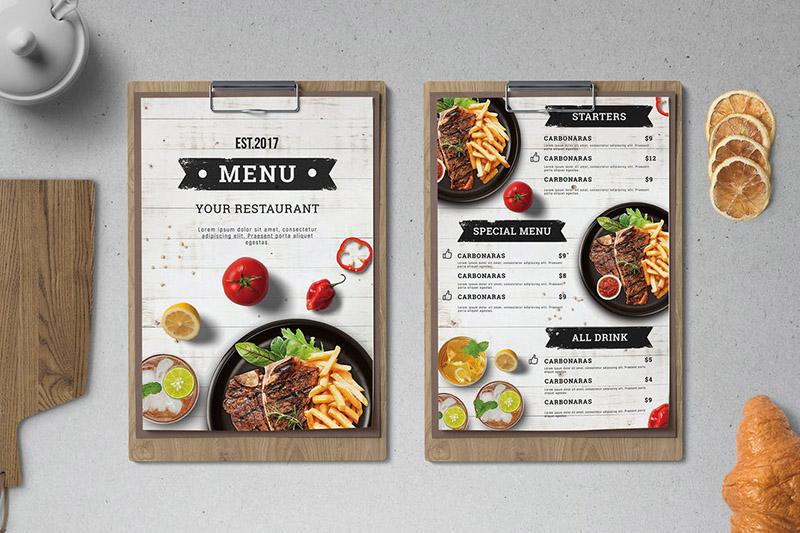 menu thực đơn