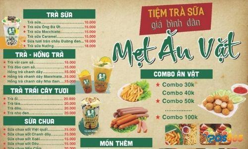 menu quán trà sữa ăn vặt