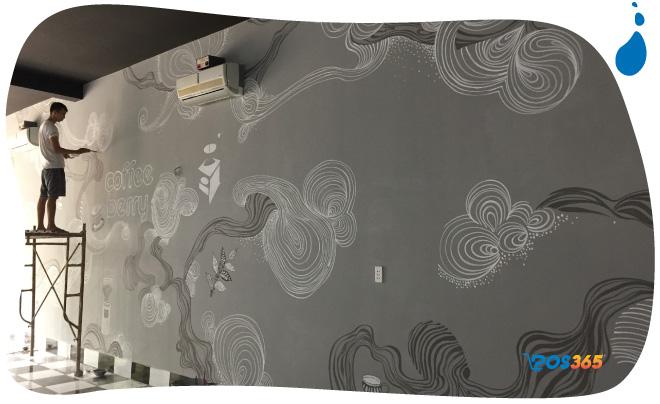 vẽ tường cho quán cà phê