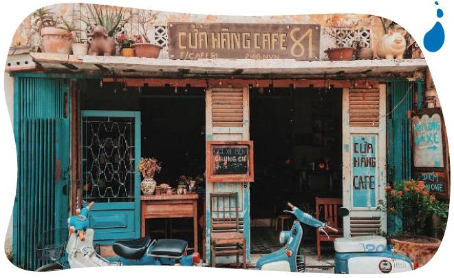decor quán cà phê vintage
