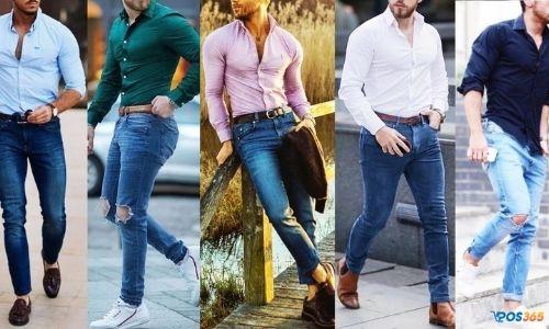 Cách phối đồ nam với quần jean áo sơ mi