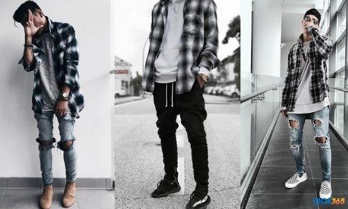 phối đồ nam quần jean
