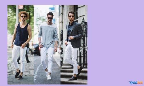 cách phối đồ nam với quần jean trắng
