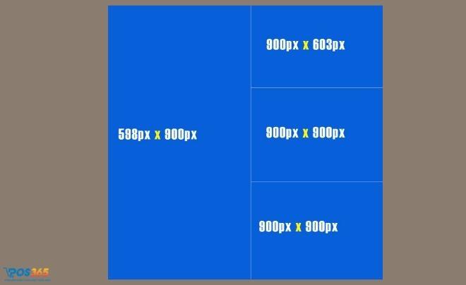 Kích thước 1 ảnh đứng và 3 ảnh vuông