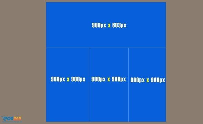 Kích thước 1 ảnh ngang và 3 hình bên dưới
