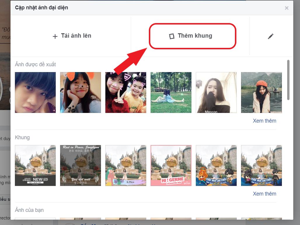 cách thay khung avatar facebook