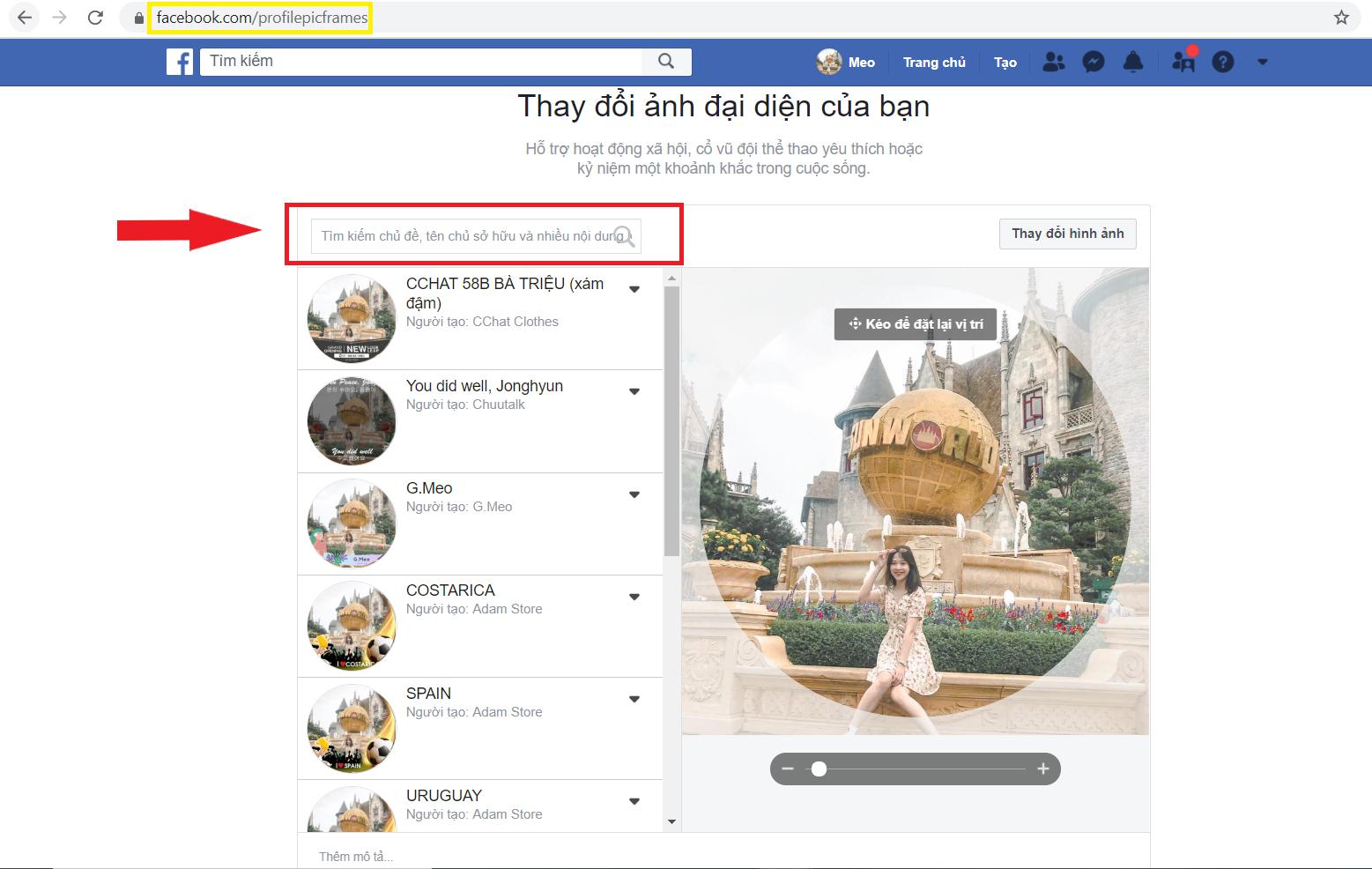 Thay khung avatar facebook