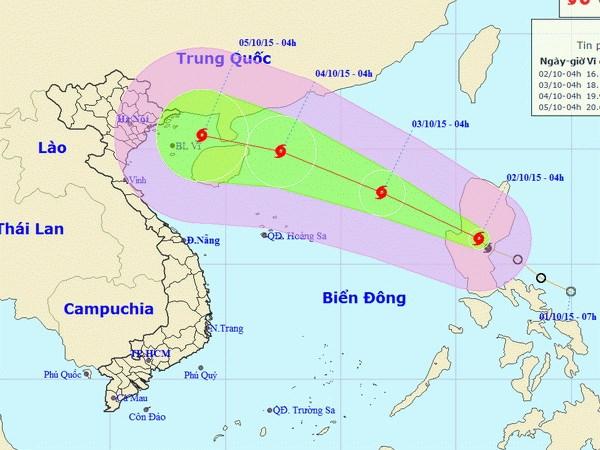 Bão Mujigae đã đi vào Biển Đông, hoạt động ngày càng phức tạp