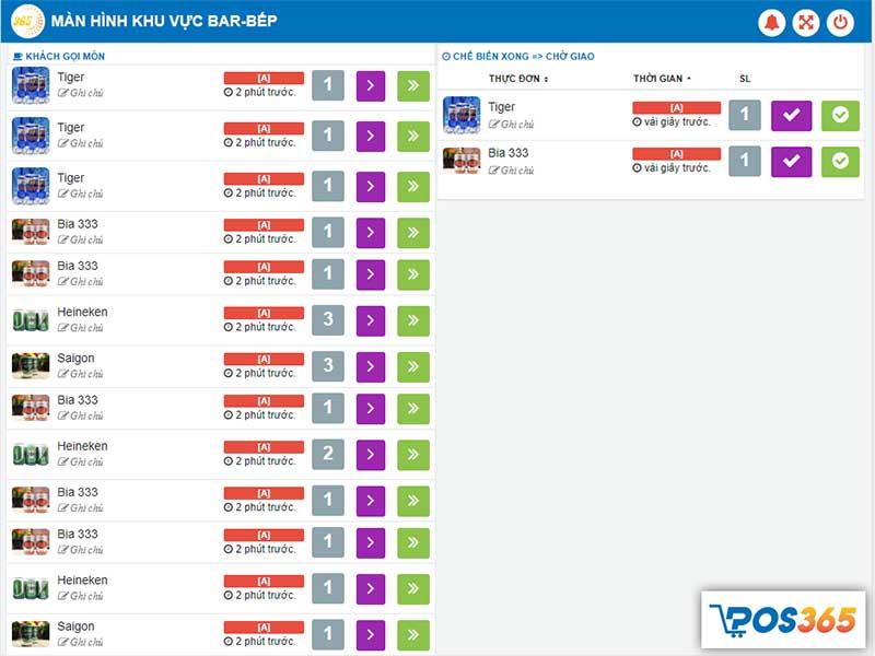 Màn hình bếp/chế biến - Phần mềm quản lý bán hàng POS365