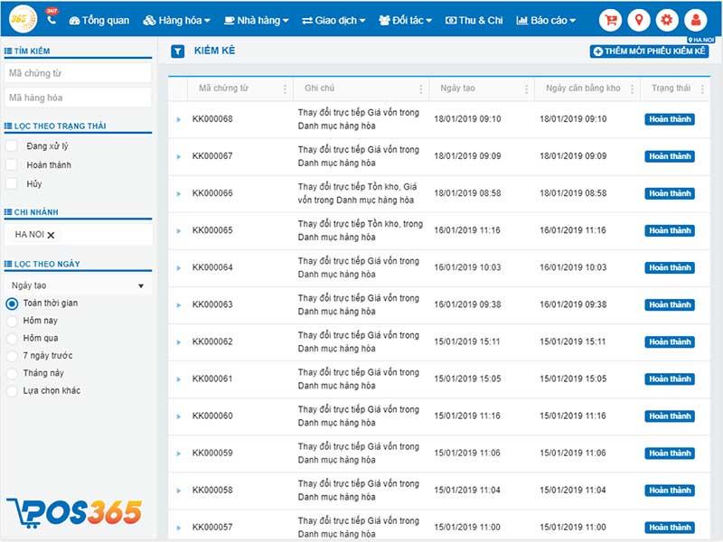 Kiểm kê - Phần mềm quản lý bán hàng POS365