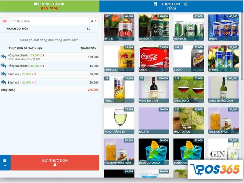 Màn hình Order - Phần mềm quản lý bán hàng POS365