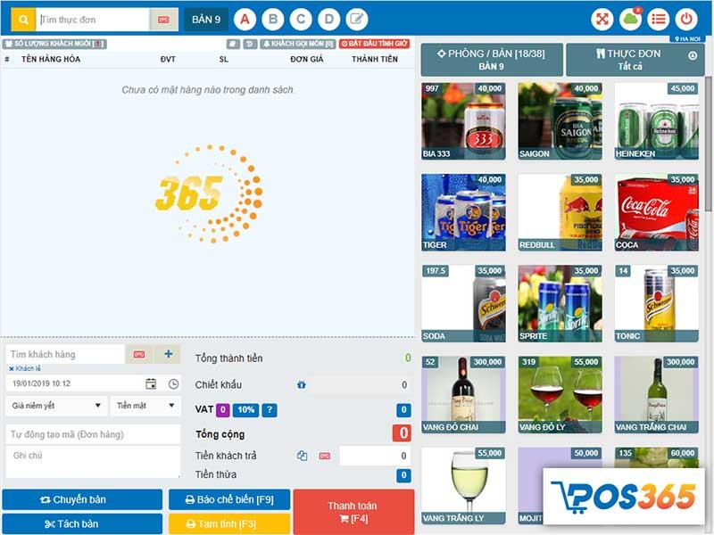 Màn hình thu ngân - Phần mềm quản lý bán hàng POS365